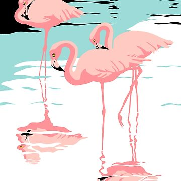 Pink Flamingos tropical abstract retro pop art poster by waltcurlee