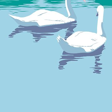 Abstract Swans retro pop art landscape  by waltcurlee