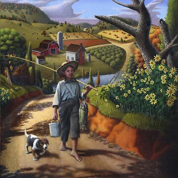 Boy and Dog Appalachian Farm Folk Art Landscape by waltcurlee