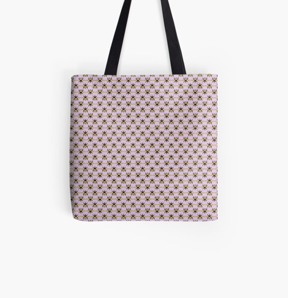Bumblebee Pattern in Purple All Over Print Tote Bag