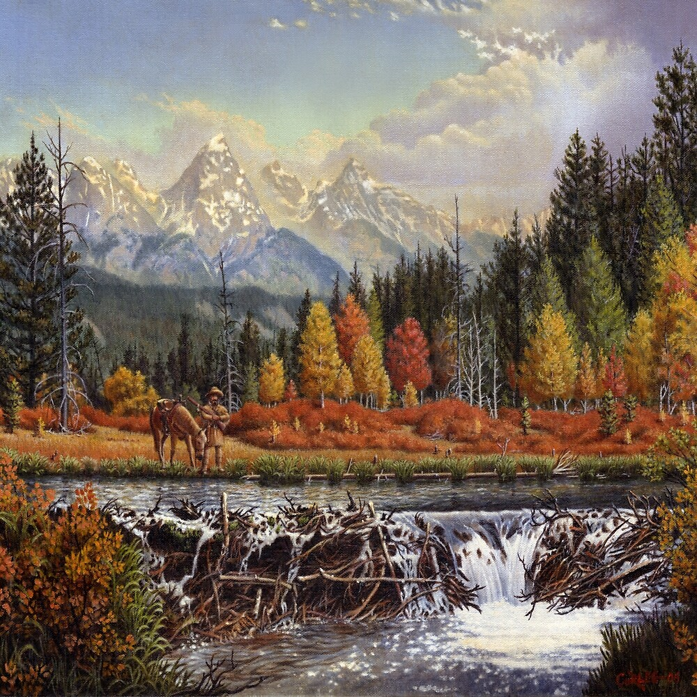 Western Mountain Landscape Autumn Mountain Man Trapper Beaver Dam Frontier Americana Oil Painting by Walt Curlee