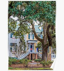 Townhouse Behind Southern Oaks Poster
