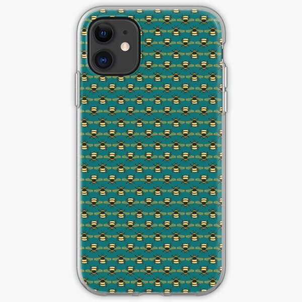 Bumblebee Pattern in Teal iPhone Soft Case