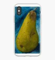 Ripe green pear on blue cloth iPhone Case
