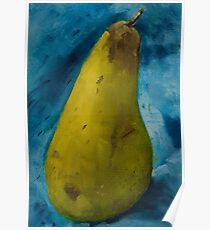 Ripe green pear on blue cloth Poster