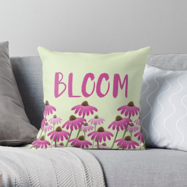 BLOOM Echinacea Flowers Throw Pillow