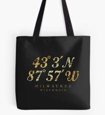 Milwaukee, Wisconsin Coordinates (Ancient Gold) Tote Bag
