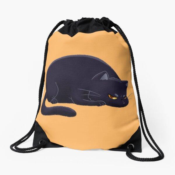 Chubby Grumpy Kitty (Black) Drawstring Bag