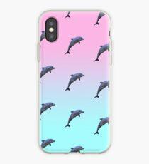 Vinilo o funda para iPhone Patrón de delfines Vaporwave