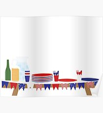 4th of july picnic table Poster