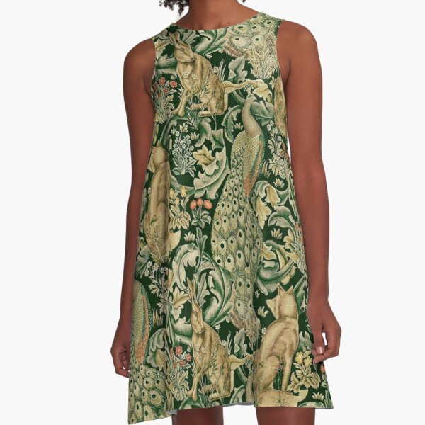 GREEN FOREST ANIMALS ,PEACOCKS, FOX AND HARE A-Line Dress