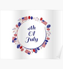 4th of july round banner Poster