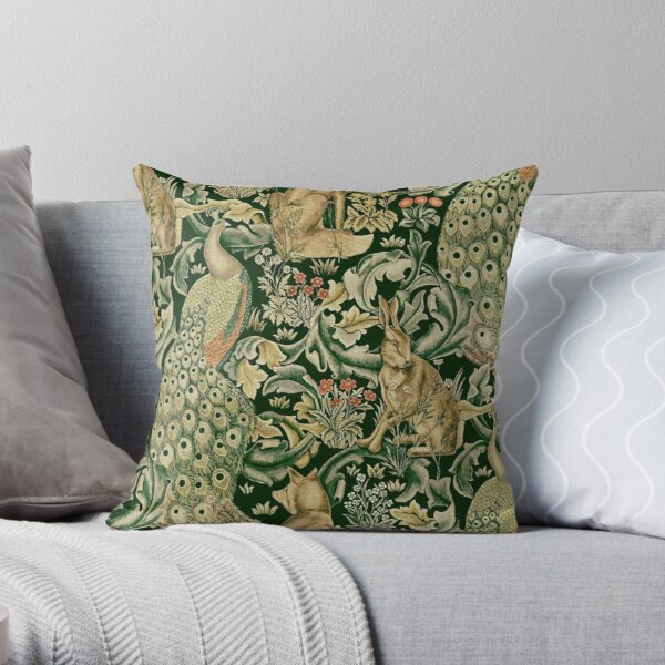 GREEN FOREST ANIMALS ,PEACOCKS, FOX AND HARE Throw Pillow