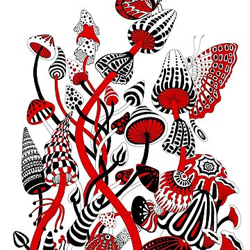 Red and Black Mushrooms by Ruta