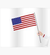Woman hand holding USA flag Poster