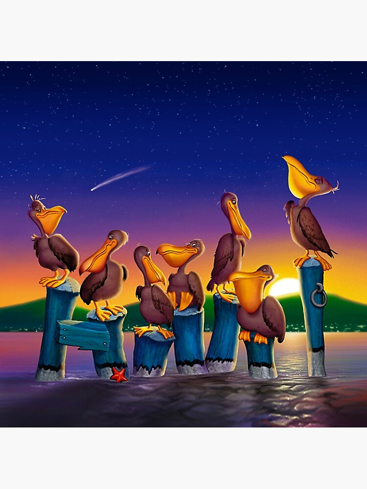 Pelican Sunset Whimsical Cartoon Tropical birds Seascape  by waltcurlee