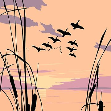 Abstract Ducks Sunset Retro Pop Art landscape by waltcurlee