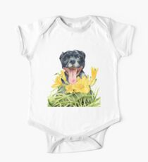 Joy | Pit Bull Dog and Daylily Watercolor Painting One Piece - Short Sleeve