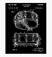 Snare Drum Thompson Patent White Photographic Print