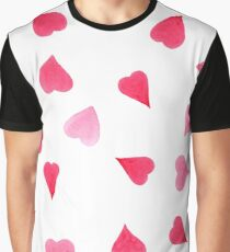 Watercolor red and pink hearts Graphic T-Shirt