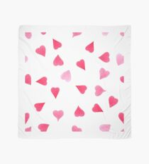 Watercolor red and pink hearts Scarf