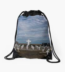 Argentine cemetery, Falkland islands. Drawstring Bag