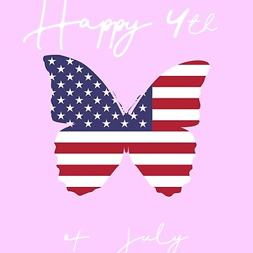 4th of July Shirt For Women with Butterfly Flag by phil009