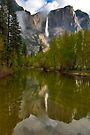 Yosemite Falls in Clouds by photosbyflood
