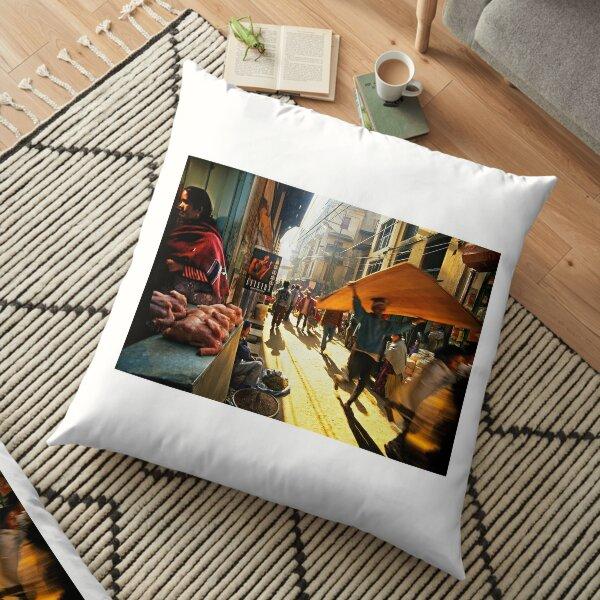 Kathmandu street scene Floor Pillow