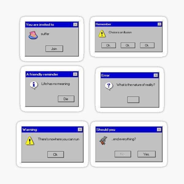 Sad W95 Error Messages - sticker sheet Sticker