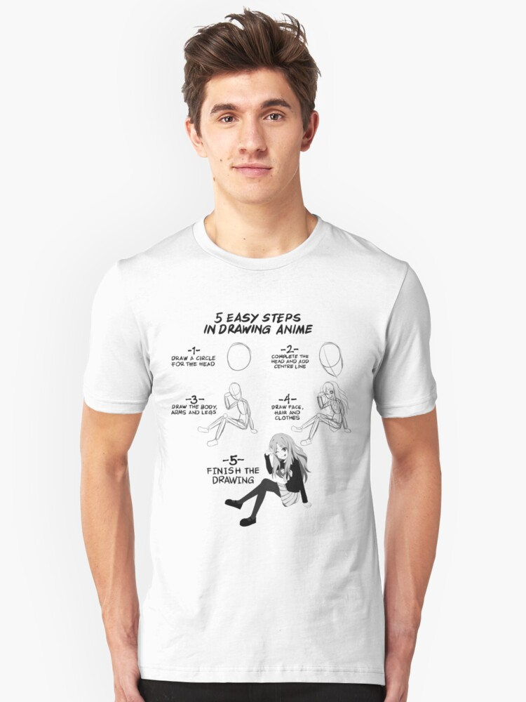 5 Easy Steps To Draw Anime T Shirt Unisex
