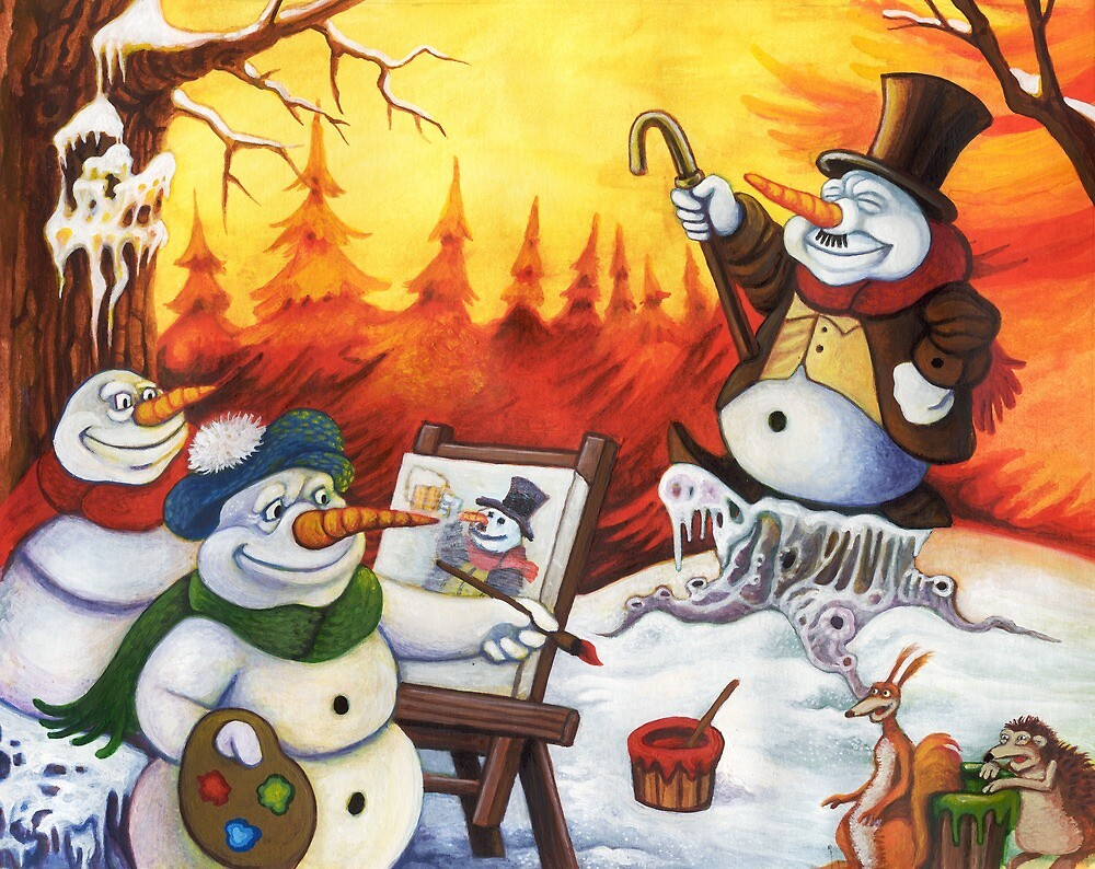 The merry snowmen painting by Stijn Van Elst