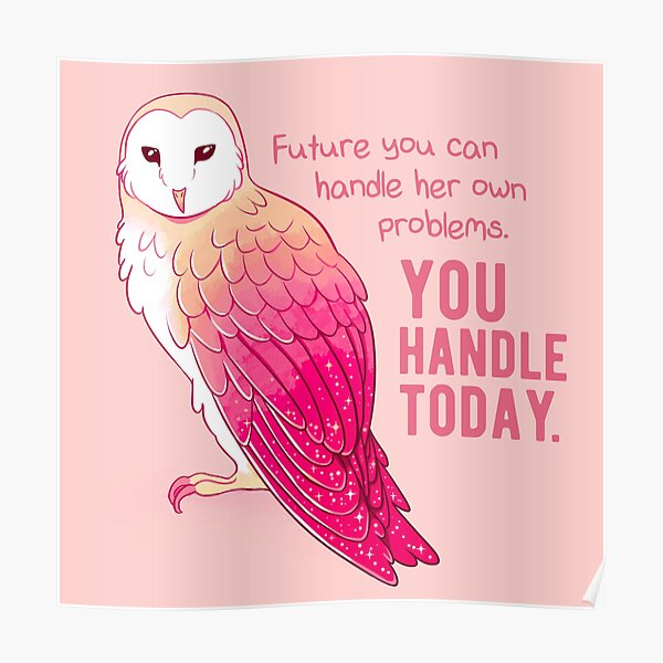 """""""You Handle Today"""" Encouraging Pink Barn Owl Poster"""