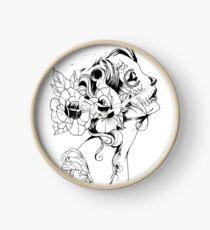 Tattoo Art Inspired Sugar Skull Woman with Roses Clock