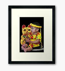 Maneki-Neko and Little Girl  Framed Print