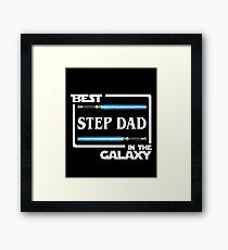 Best Step Dad In Galaxy Shirt   Fathers Day Gift   Lightsabers   Jedi Framed Print
