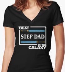Best Step Dad In Galaxy Shirt   Fathers Day Gift   Lightsabers   Jedi Women's Fitted V-Neck T-Shirt