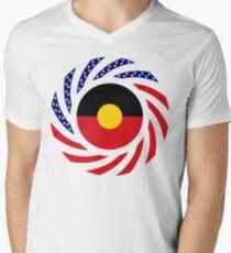 Australian Aboriginal American Multinational Patriot Flag Series Men's V-Neck T-Shirt
