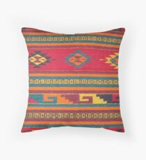 Colorful red Aztec Pattern Throw Pillow