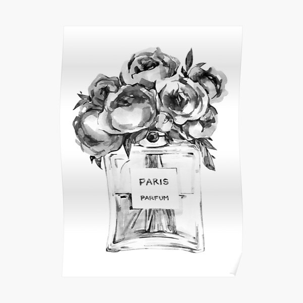 Perfume Bottle Watercolor Painting With Black and White Flowers Poster