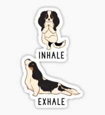 Inhale Exhale Cavalier King Charles Spaniel Yoga Sticker