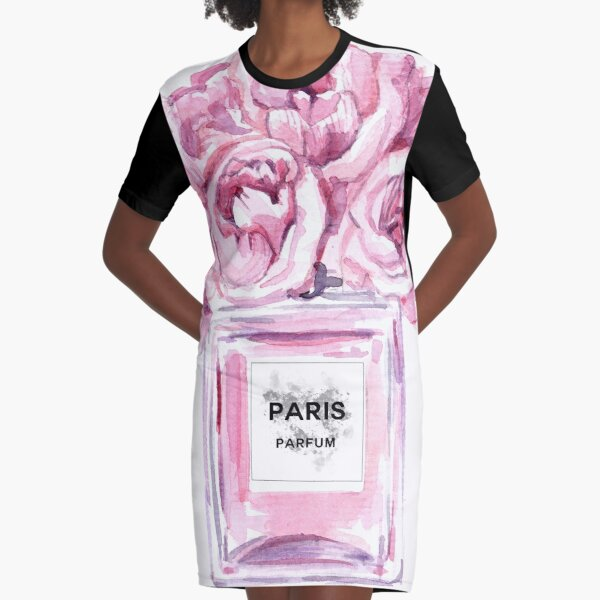 Perfume Bottle Watercolor Painting Hand Painted With Pink Flowers Graphic T-Shirt Dress