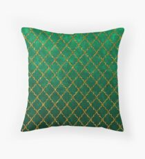 Chic Green Gold Trendy Quatrefoil Glitter Print  Throw Pillow