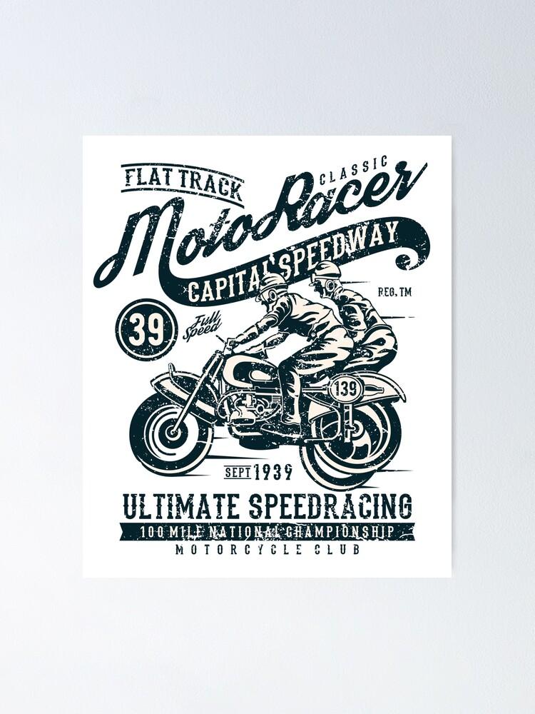 Biker Tote Bag Classic Moto Racer Captial Speedway Art Motorbike Retro Bike