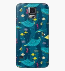 Decorative seamless pattern with sea fish on blue background. Case/Skin for Samsung Galaxy