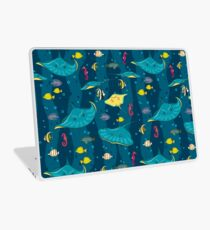 Decorative seamless pattern with sea fish on blue background. Laptop Skin