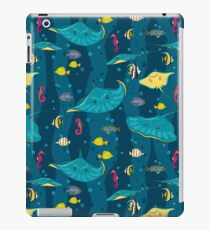 Decorative seamless pattern with sea fish on blue background. iPad Case/Skin