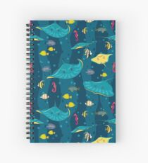 Decorative seamless pattern with sea fish on blue background. Spiral Notebook