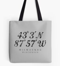 Milwaukee, Wisconsin Coordinates (Ancient Black) Tote Bag
