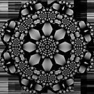 Metallic B&W flower, spirals & geometric patterns by walstraasart